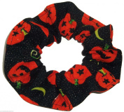 Halloween Pumpkins Gold Glitter Black Fabric Hair Scrunchie Handmade by Scrunchies by Sherry