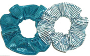Light Blue and Teal Foil Sequin Hair Scrunchie Ice Queen Set of 2 Handmade by Scrunchies by Sherry