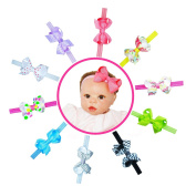 Baby Girl Interchangeable Headbands Newborn Toddler Girl Grosgrain Hair Bow Alligator Clips and headbands 20pcs Set B by ColorBeBe