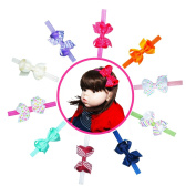 Baby Girl Interchangeable Headbands Newborn Toddler Girl Grosgrain Hair Bow Alligator Clips and headbands 20pcs Set C by ColorBeBe