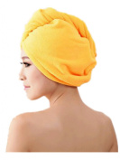Moolecole Super Absorbent Bamboo Fibre Hair Dry Towel Thickened Shower Cap Hair Turban Quick Dry Hat Cap Orange