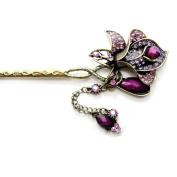 Retro Crystal Rhinestone Beautiful Flower Hair Pin Comb Fork Hair Stickfor Women/Girls,Set of 1,Purple
