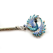 Retro Style Rhinestone Peacock Shape Hair Pin Comb Fork Hair Stickfor Women/Girls,Set of 1,Blue