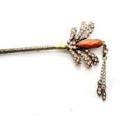 Tassels Style Crystal Rhinestone Hair Pin Comb Fork Hair Stickfor Women/Girls,Set of 1,Champange gold