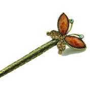 Retro Style Bohemian Rhinestone Butterfly Hair Pin Comb Fork Hair Stick for Women/Girls,Set of 1,Champagne Gold