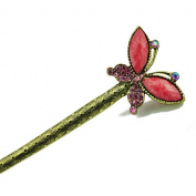 Retro Style Bohemian Rhinestone Butterfly Hair Pin Comb Fork Hair Stick for Women/Girls,Set of 1,red