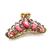 Retro Style Crystal Rhinestone Hair Claw Hair Clip for Women/Girls,Set of 1,Red
