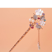 Pearl Crystal Rhinestone White Flower Hair Pin Hair Comb Fork Hair Stickfor Women/Girls,Set of 1,Colourful