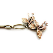 Retro Style Crystal Rhinestone LiLy Shape Hair Pin Comb Fork Hair Stick for Women/Girls,Set of 1,Champagne Gold