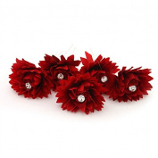 MyMei® Handmade Bridal Chrysanthemum Flower Pattern U Shape Hairpin Clip For Wedding Party Red