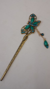 Gorgeous Vintage Jewellery Crystal Hair Sticks Hair Pins Shawl Pins Butterfly Design with Tassels - Emerald Colour -For Hair Beauty Tools