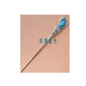 Women's Girls' Fashion Crystal Rhinestone Heart Shape Pin Comb Fork Hair Stick,Set of 1,Blue