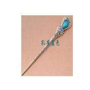 Women's Girls' Fashion Crystal Rhinestone Heart Shape Pin Comb Fork Hair Stick,Set of 1,Blue