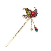 Fashion Crystal Rhinestone Butterfly Shape Pin Comb Fork Hair Stick for Women/Girls,Set of 1,,Colourful
