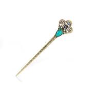 Women's Girls' Fashion Crystal Rhinestone Diadema Shape Pin Comb Fork Hair Stick,Set of 1,Blue
