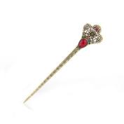 Women's Girls' Fashion Crystal Rhinestone Diadema Shape Pin Comb Fork Hair Stick,Set of 1,Red