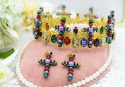 Headwear+earrings Baroque Suit Cross Colourful Pearls Luxury Crystal Diamond Bride Bridal Wedding Accessory Hair Head Band Wear Rhinestone Jewellery Headdress Headband Tiara Crown