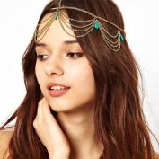 Mosunx(TM) Women Girl Boho Bohemian Head Turquoise Tassels Headband Link Chain Cuff Headpiece