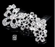 FAJ Bridal Hair Comb, Large Flower Rhinestone Wedding Hairpiece. Made with great quality Austrian Crystals