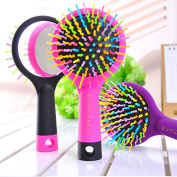 INHDBOX Anself Rainbow Volume S Brush Hair Curl Magic Accessory Perm Wave Straight Beauty Comb Hair Comb with Mirror
