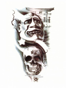 BTArtbox Big Pattern Style Skull & Grimace Pattern Body Art Stickers High Quality Removable Easy To Use Waterproof Long Duration Flash Temporary Tattoo - One Sheet - 15cm X 20cm