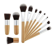 MyMei® 11 pcs Wood Handle Makeup Cosmetic Eyeshadow Foundation Concealer Brush Set with Case