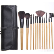 Youngman 12pcs Makeup Brush Sets Wooden Handle and Black Wool for Eye Shadow Lip Brush