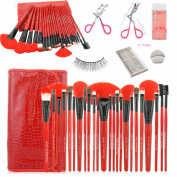 Makeup Brush Set Professional 24 Pieces Makeup Brushes Cosmetic Makeup Tool Set with 10 Pairs of False Eyelashes and A Pink Eyelash Curler - All-in-one Make Up Tools (Red)
