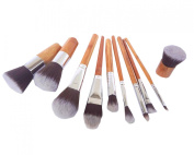 RuiChy 11 pcs Wood Handle Makeup Cosmetic Eyeshadow Foundation Concealer Brush Set