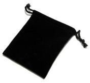 5x Black Velvet Drawstring Gift Pouch 7cm x 9cm