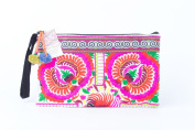Pretty White Peony Tribal Clutch Bag Made By Thai Hmong Embroidered