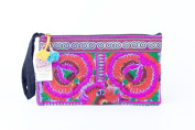 Pretty Purple Peony Tribal Clutch Bag Made By Thai Hmong Embroidered