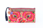 Pretty Yellow Peony Tribal Clutch Bag Made By Thai Hmong Embroidered