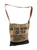 In the World of Tea Burlap and Canvas Cross Body Bag
