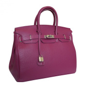 Carbotti Designer Classico Italian Leather Handbag Celebrity Bag - Purple
