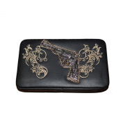 Rhinestone Pistol Embroidery Leather Clip Women's Wallet in 6 Colours. New with Fast Shipping.