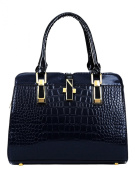 Ladies Zipper Closed Detachable Strap Zip Pocket Handbag Navy Blue