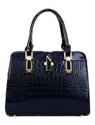 Ladies Zipper Closed Detachable Strap Zip Pocket Handbag Navy Blue