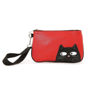 Sleepyville Critters - Peeking Black Cat Vinyl Wristlet