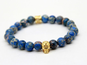 New Design High Grade Jewellery Wholesale 8mm Blue Sea Sediment Stone Bead with Bronze Gold and Silver Skull Bracelet