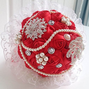 Hestian 25cm Luxury Handmade Romantic Silk Roses with Pearl Chain, Deluxe Rhinestones Bridal Wedding Bouquet Silk Rose Hand Tie