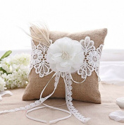 Ivory Flower with Pearls Feather Burlap Lace Wedding Ring Pillow Bearer Bridal Shower Favour