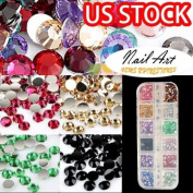 3000pcs Round Shape Nail Art Glitter 2mm 12 Colours Rhinestones Tips Decoration