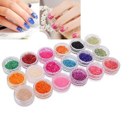 12 Pcs Crushed Shell Chips Multi Colour Nail Art Glitter Powder for Uv Gel Acrylic Powder Decoration Tips