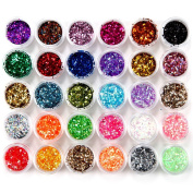 30 Colours Nail Art Glitter Powder for Uv GEL Acrylic Powder Decoration Tips