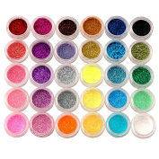 30 Colours Shiny Glitter Powder Dust Beads for Tips Decoration Nail Art Acrylic