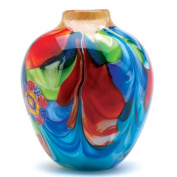 GHP Hand Crafted Floral Fantasia Art Glass Jug-shaped Vase - 20cm X 23cm