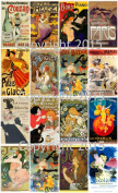 Victorian Vintage Printed French Posters Collage Sheet 101 Labels, Scrapbooking, Decoupage