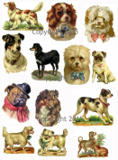 Vintage Victorian Dogs Collage Sheet 106 Art Images for Decoupage, Scrapbooking, Jewellery Making
