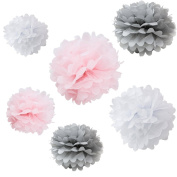 Set of 6 Grey Pink White Tissue Paper Pompoms Wedding Birthday Party Nursery Baby Room Hanging Decoration